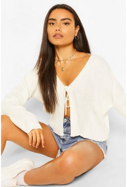 Ivory white Lace Up Crop Rib Cardigan