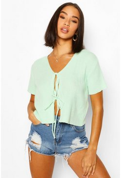 Green Lace Up Short Sleeve Crop Cardigan