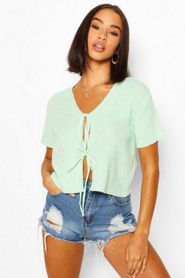 Mint green Lace Up Short Sleeve Crop Cardigan