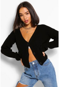 Black V Neck Pocket Crop Cardigan
