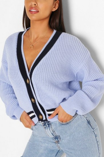Blue V Neck Stripe Cardigan