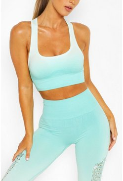 Green Fit Seamfree Ombre Medium Support Sports Bra