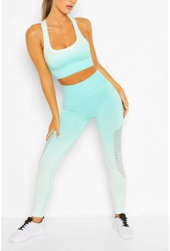 Green Fit Seamfree Ombre Sports Leggings