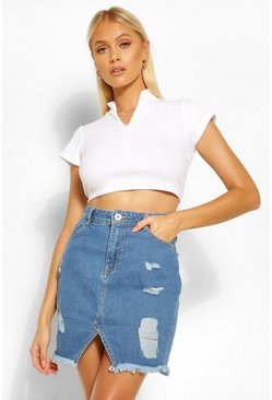 Mid blue blue Extreme Ripped Denim Mini Skirt