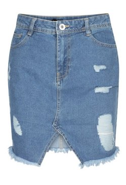 Mid blue Extreme Ripped Denim Mini Skirt