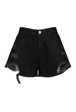 Black Extreme Ripped Denim Short