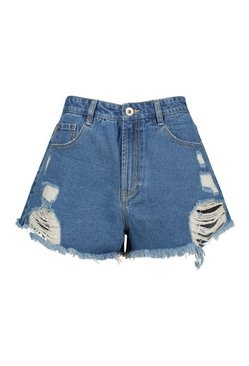 Mid blue Extreme Ripped Denim Short