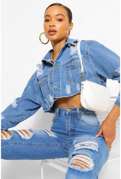Mid blue blue Extreme Rip Cropped Denim Jacket