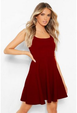 Berry red Belted Strappy Skater Dress