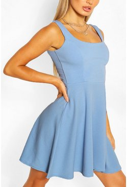 Light blue blue Belted Strappy Skater Dress