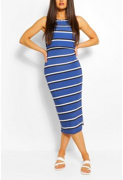 Blue Striped High Neck Double Layered Maxi Dress