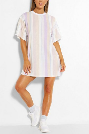 Lilac purple Pastel Stripe Oversized Tshirt Dress