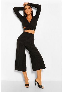 Black Rib Wrap Front Top Co Ord