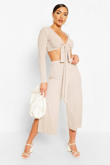Grey Rib Wrap Front Top Co Ord