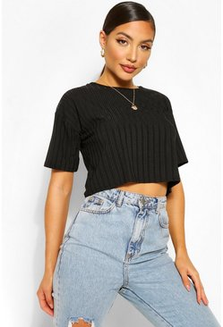 Black Recycled Rib Crop Top