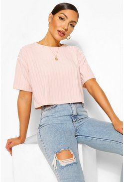 Pink Recycled Rib Crop Top