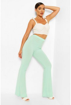 Mint Recycled Rib Wide Leg Trouser
