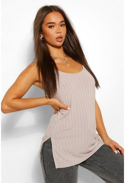 Grey Recycled Rib Cami Top