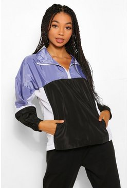 Blue Funnel Neck Panelled Overhead Windbreaker