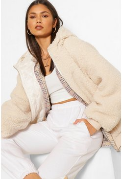 Stone beige Teddy Faux Fur Panel Puffer Jacket