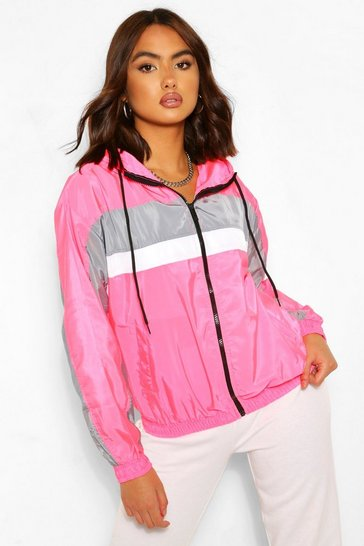 Hot pink pink Stripe Panel Hooded Windbreaker