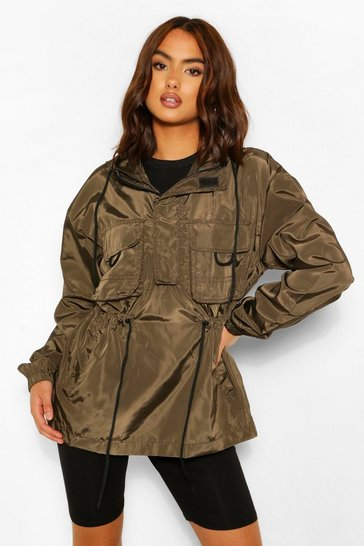Khaki Waist Detail Double Pocket Windbreaker