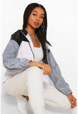 Black Hooded Panelled Windbreaker