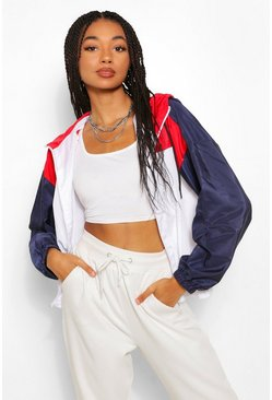 Red Hooded Panelled Windbreaker
