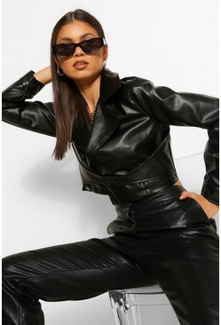 Black Buckle Detail Faux Leather Jacket