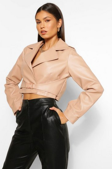 Nude Buckle Detail Faux Leather Jacket