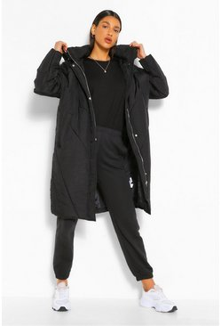 Black Longline Hooded Puffer Jacket