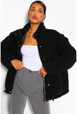 Black Teddy Faux Fur Mix Puffer Jacket
