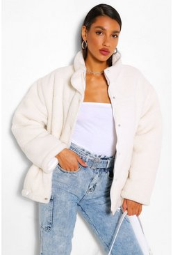 Cream white Teddy Faux Fur Mix Puffer Jacket