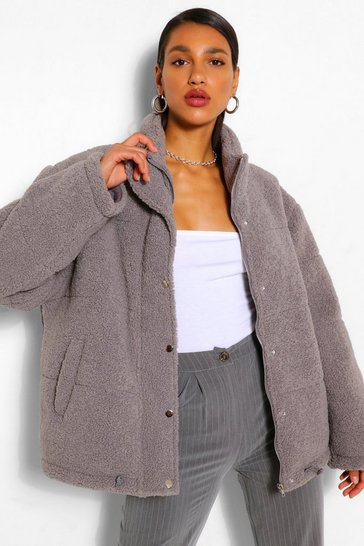 Grey Teddy Faux Fur Mix Puffer Jacket