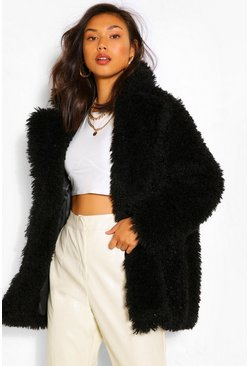 Black Textured Teddy Faux Fur Coat