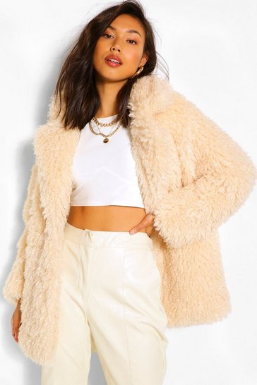 Cream white Textured Teddy Faux Fur Coat