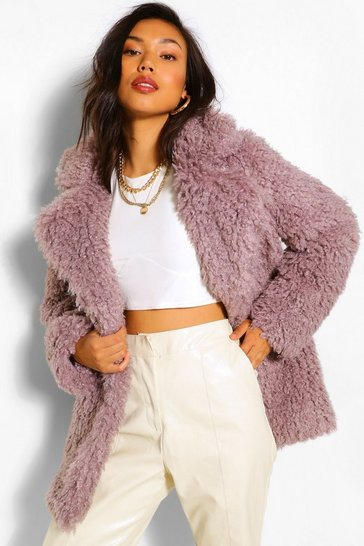 Light grey grey Textured Teddy Faux Fur Coat
