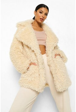 Natural beige Textured Teddy Faux Fur Coat