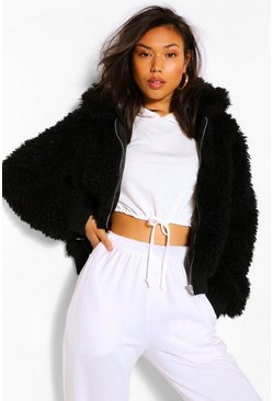 Black Textured Teddy Faux Fur Jacket