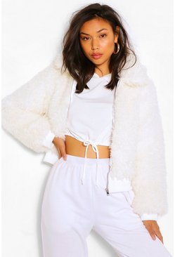 Cream white Textured Teddy Faux Fur Jacket