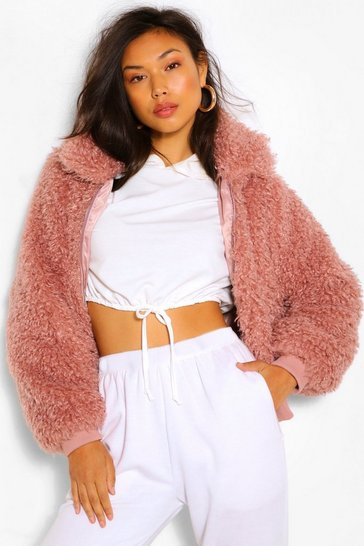 Dusky pink pink Textured Teddy Faux Fur Jacket