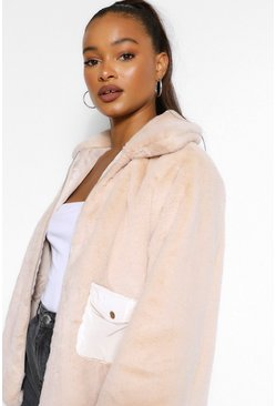 Stone beige Pocket Detail Faux Fur Jacket