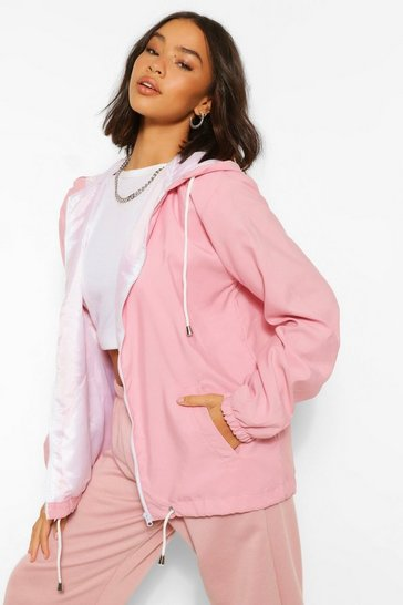Dusky pink pink Hooded Windbreaker