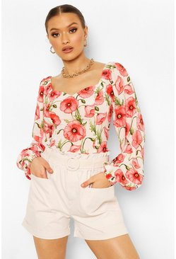 White Floral Sweatheart Puff Sleeve Woven Top