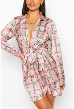 Pink Chain Print Twist Front Shirt Dress