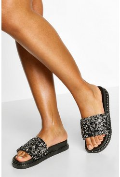 Embellished Footbed Sliders, Black negro