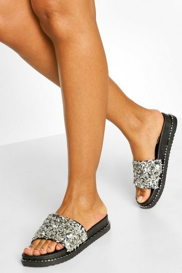 Silver Embellished Footbed Sliders