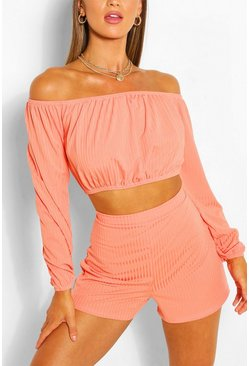 Coral pink Ribbed Bardot Top & Short Co-ord Set