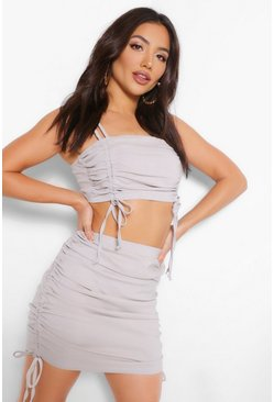 Stone beige Bandeau Top and Ruched Skirt Co-ord Set