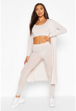 Ribbed Crop TopLegging&Duster Co-ord Set, Ecru